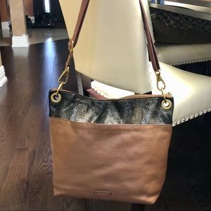 Fossil Brown Leather Bag Suede Shimmer Crossbody